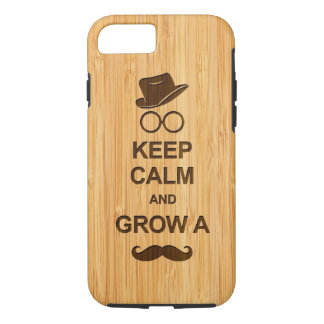 Funny Keep Calm and Grow a Mustache Bamboo Look iPhone 7 Case