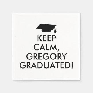 Funny Keep Calm Napkins Graduation Cap Your Name