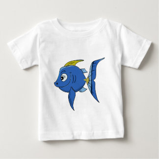Funny kids cartoon blue and yellow angle fish baby T-Shirt