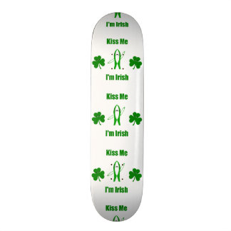 "Funny ""Kiss Me I'm Irish"" - Left Shark & Shamrocks Skateboard"