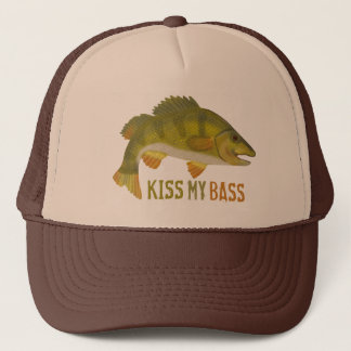 Funny Kiss My Bass Fish Fishing Angler Humor Trucker Hat