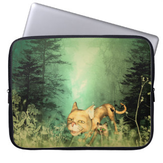 Funny kitten with baby cat in the wood laptop sleeve