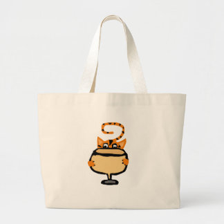 Funny Kitty Cat Drinking White Wine Large Tote Bag
