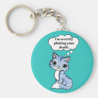 Funny Kitty Cat Plotting Your Death Keychain