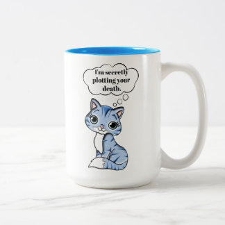 Funny Kitty Cat Plotting Your Death Two-Tone Coffee Mug