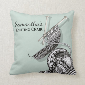 Funny Knitting Chair Throw Pillow