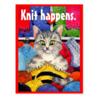 Funny knitting kitty postcard