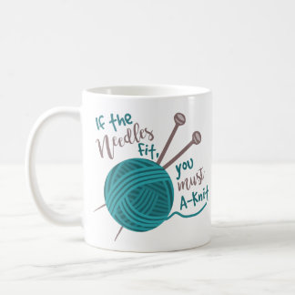 Funny Knitting Knitter Humor Needles Yarn Classic White Coffee Mug