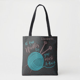 Funny Knitting Needles Yarn | Add Knitters Name Tote Bag