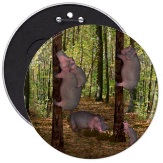 Funny Koala-Wannabe Hippos 6 Inch Round Button