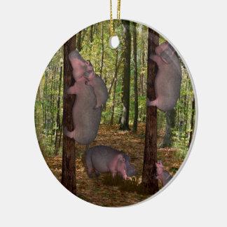 Funny Koala-Wannabe Hippos Round Ceramic Ornament