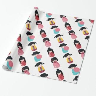 Funny Kokeshi Doll - Cute Japanese Geisha Girl Wrapping Paper