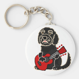 Funny Labradoodle Playing Guitar Keychain