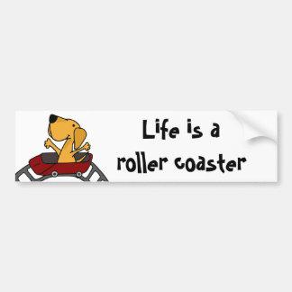 Funny Labrador on Roller Coaster Bumper Sticker