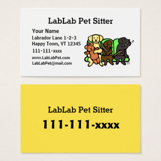 Funny Labrador Pet Sitter Business Cards