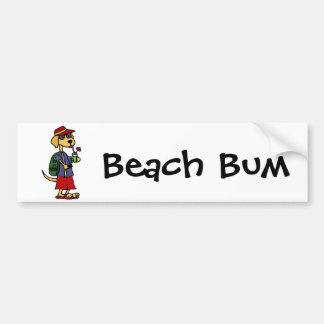 Funny Labrador Retriever at the Beach Cartoon Bumper Sticker