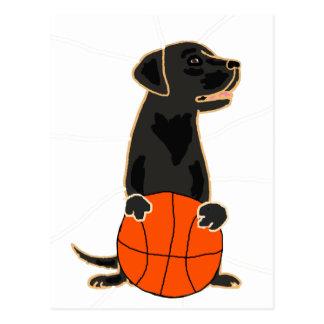 Funny Labrador Retriever Playing Basketball Postcard