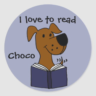 Funny Labrador Retriever Reading a Book Classic Round Sticker