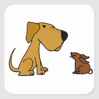 Funny Labrador Retriever with Rabbit Square Sticker