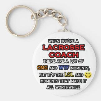 Funny Lacrosse Coach ... OMG WTF LOL Keychain