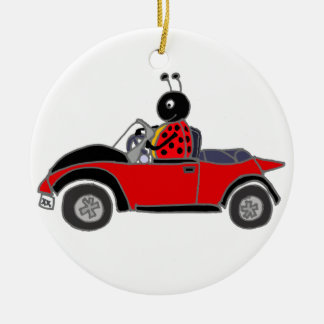 Funny Ladybug Driving Convertible Round Ceramic Ornament