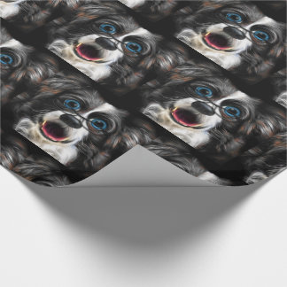 Funny Laughing Border Collie Dog in Glasses Wrapping Paper