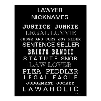 Funny Lawyer Nicknames and Synonyms Office Poster