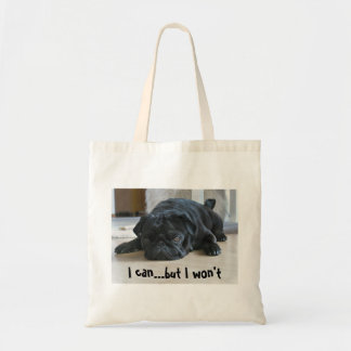 Funny Lazy Black Pug Puppy Tote Bag