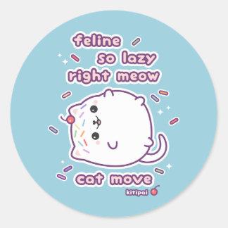 Funny Lazy Cat Pun Classic Round Sticker