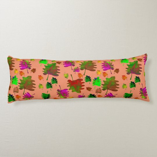 Funny leaves watercolor body pillow