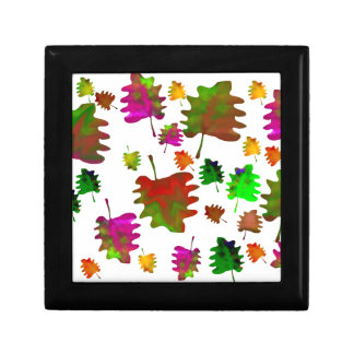 Funny leaves watercolor jewelry box