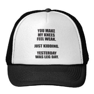Funny Leg Day Saying - Bodybuilding Gym Humor Trucker Hat