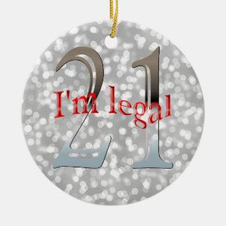 Funny Legal 21st Birthday Bokeh Silver Christmas Ceramic Ornament