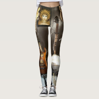 Funny Leggings with Wrapped Guitar and Fairy Image