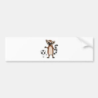 Funny Lemur Playing Soccer Cartoon Bumper Sticker