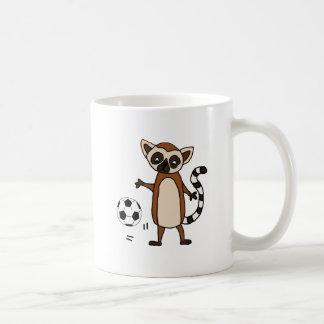 Funny Lemur Playing Soccer Cartoon Coffee Mug