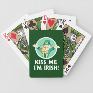 Funny Leprechaun Kiss Me I'm Irish Saint Patrick Bicycle Playing Cards