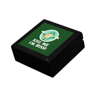 Funny Leprechaun Kiss Me I'm Irish Saint Patrick Gift Box