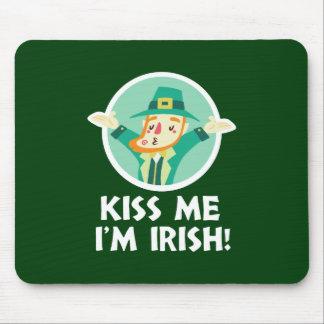 Funny Leprechaun Kiss Me I'm Irish Saint Patrick Mouse Pad