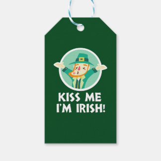 Funny Leprechaun Kiss Me I'm Irish Saint Patrick Pack Of Gift Tags
