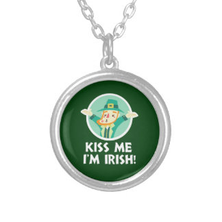 Funny Leprechaun Kiss Me I'm Irish Saint Patrick Silver Plated Necklace