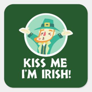 Funny Leprechaun Kiss Me I'm Irish Saint Patrick Square Sticker