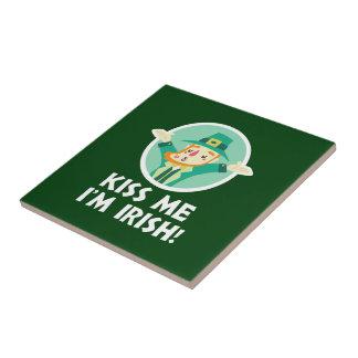 Funny Leprechaun Kiss Me I'm Irish Saint Patrick Tile