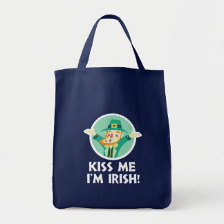 Funny Leprechaun Kiss Me I'm Irish Saint Patrick Tote Bag