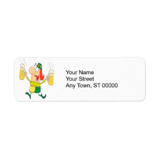funny leprechaun lady serving beer return address label