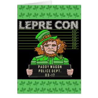 Funny Leprechaun Leprecon Mugshot Card