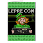 Funny Leprechaun Leprecon Mugshot Greeting Card
