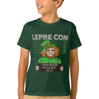 Funny Leprechaun Leprecon Mugshot T-Shirt