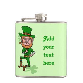 Funny Leprechaun St Patricks Day Personalized Hip Flask