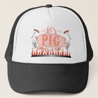 Funny Let's Pig Out Summer Outdoor BBQ Grill Trucker Hat